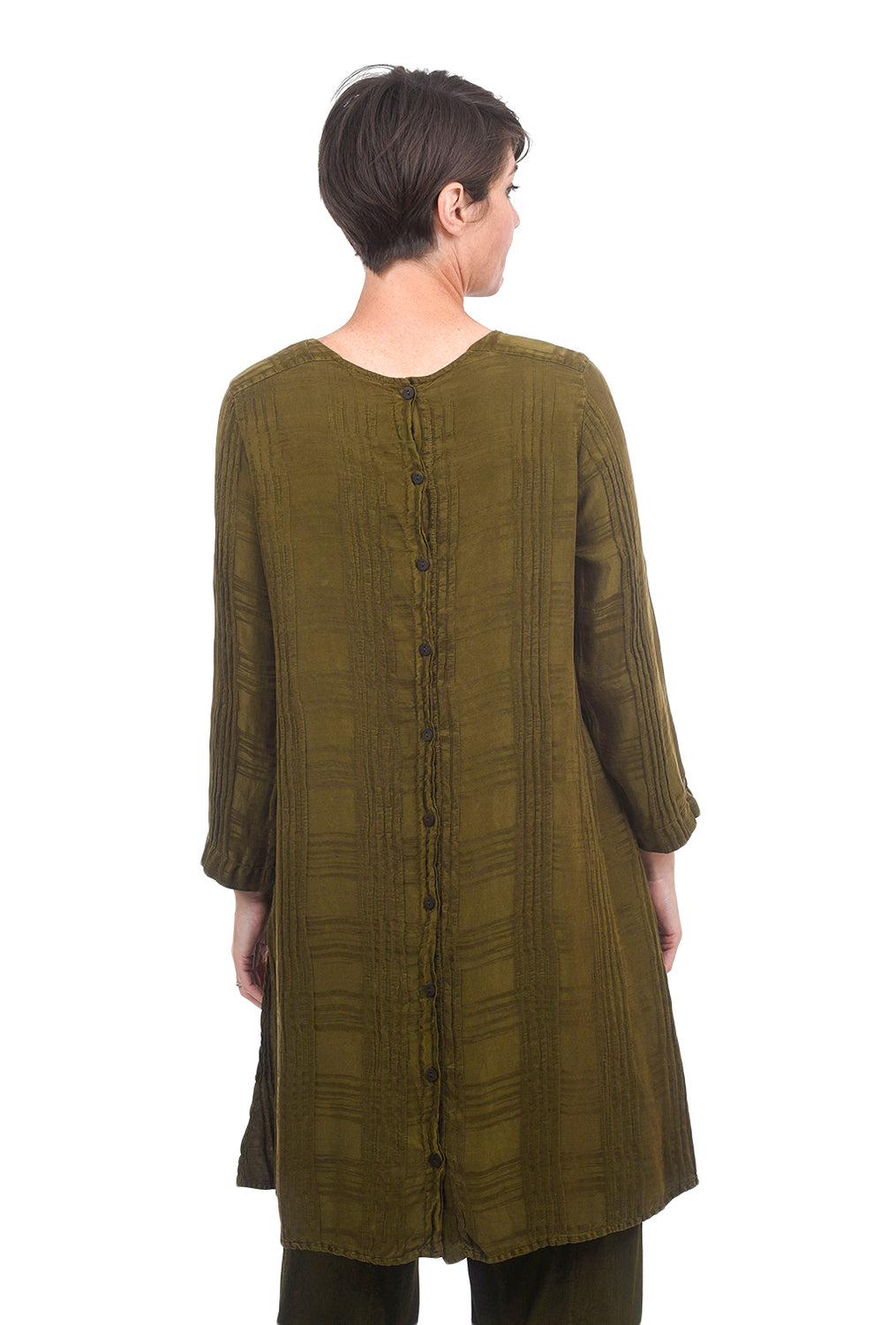 Grizas Silk Windowpane Tunic, Army Olive