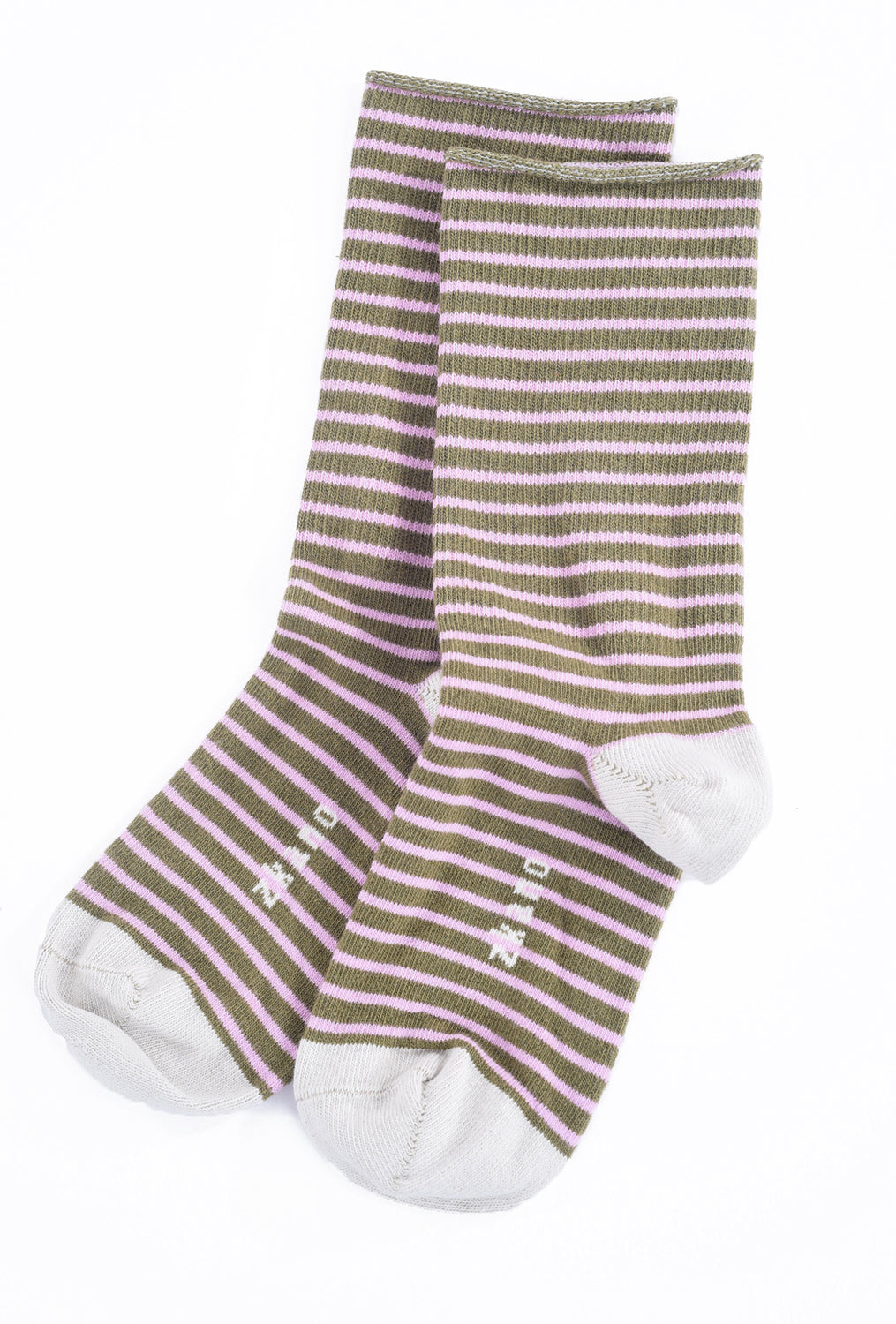 Little River Sock Mill Rose Stripe Slouch Socks, Moss