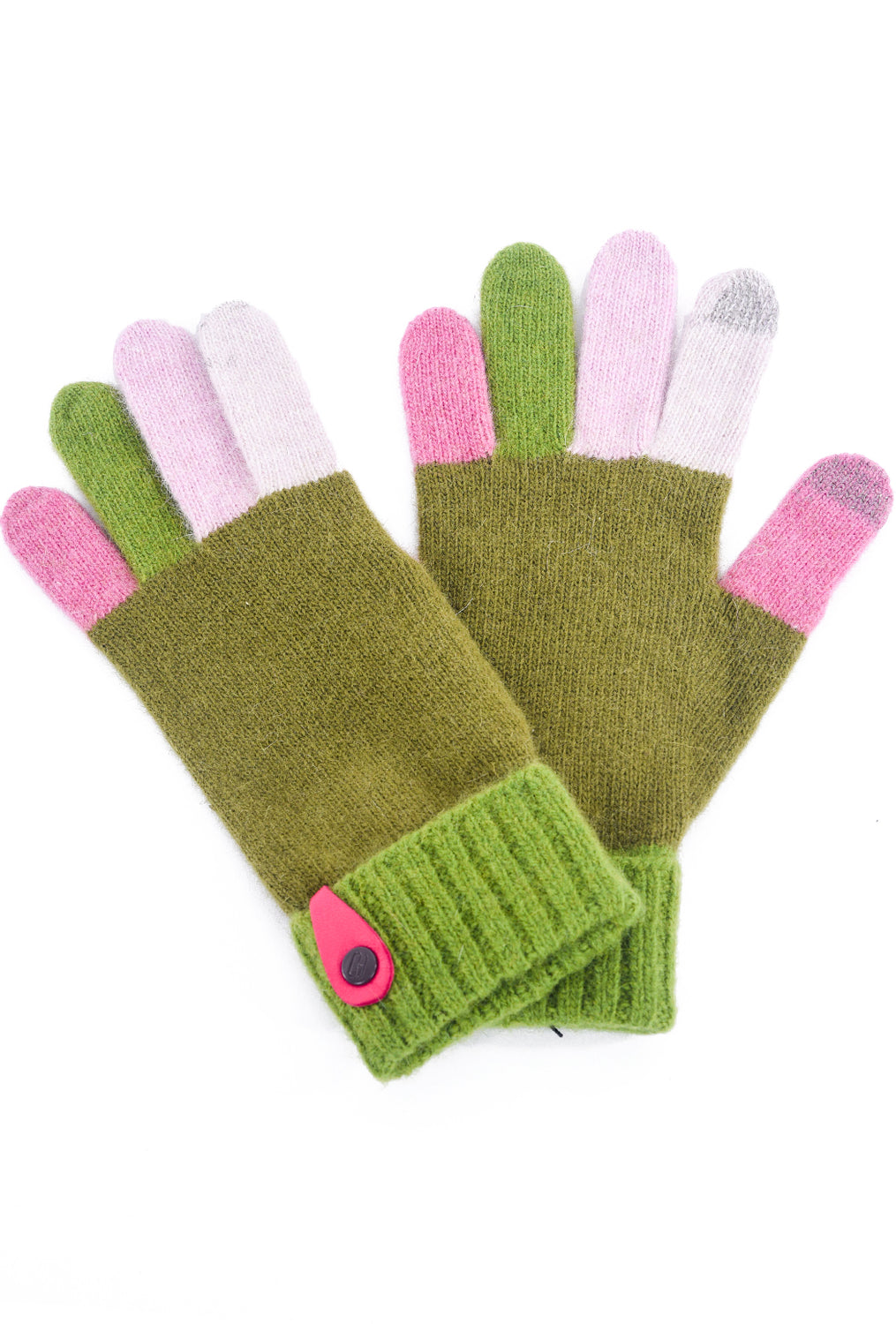Santacana Madrid Multi-Color Knitted Gloves, Green One Size Green