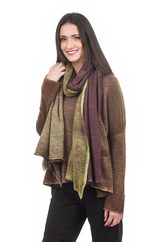 F Cashmere Double-Dye Cashmere Scarf, Lime/Plum One Size Lime