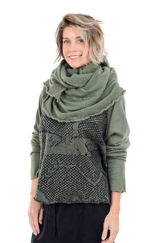Rundholz Black Label Boiled Wool Cowl Scarf, Vert One Size Vert