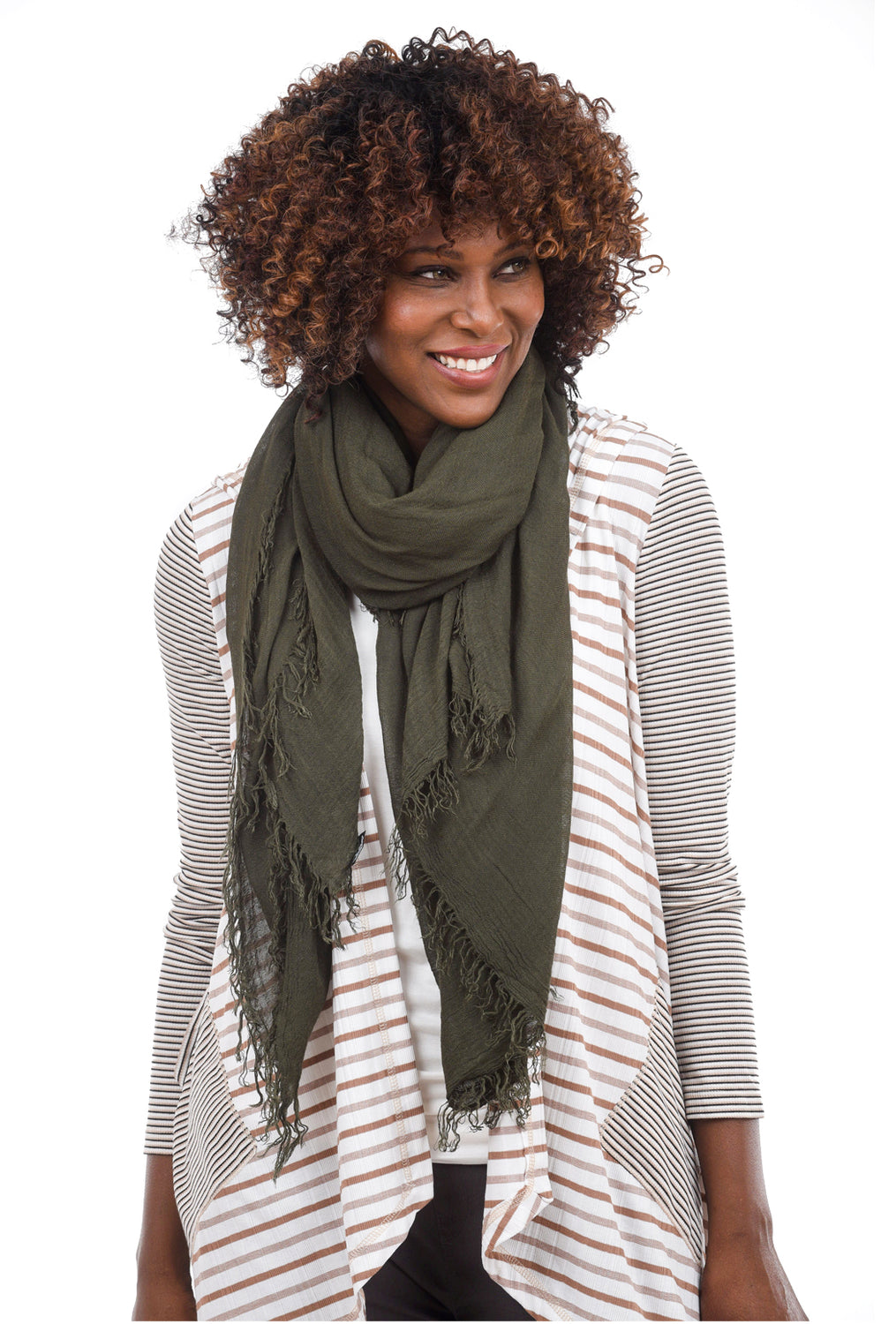 Blue Pacific Tissue Solid Scarf, Olive One Size Olive
