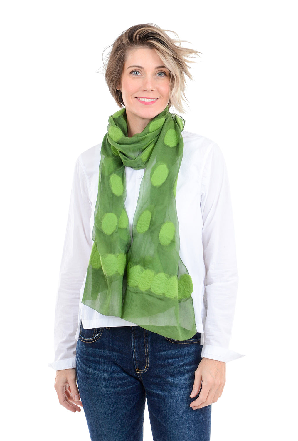 Evie Lou Felted Dots Scarf, Green One Size Green