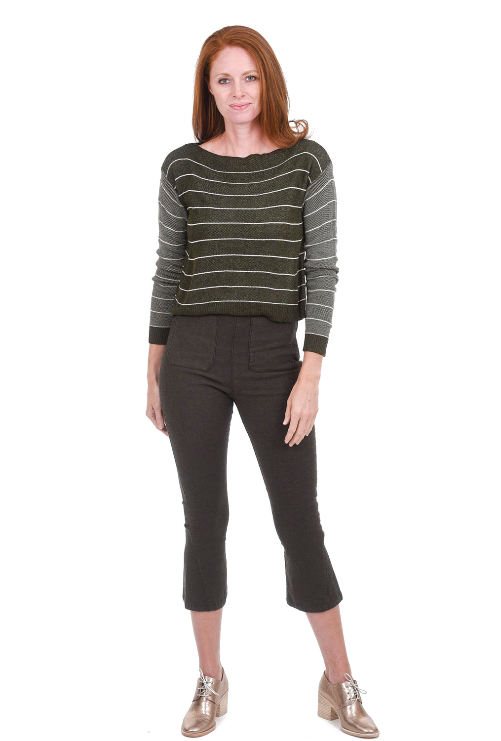 M. Rena Cropped Striped Sweater, Olive