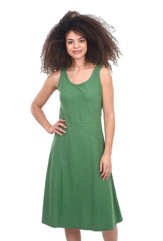 Cut Loose Linen Stripe Seamed Tank Dress, Stem Green