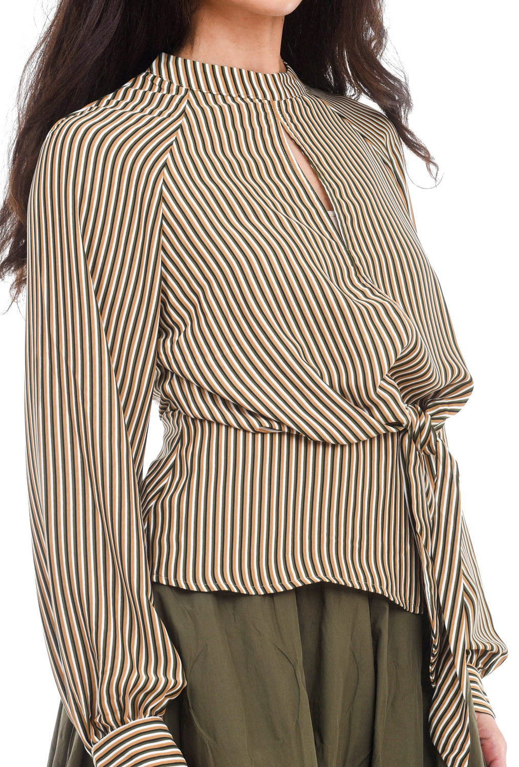 Current Air Striped Tie-Waist Blouse, Olive