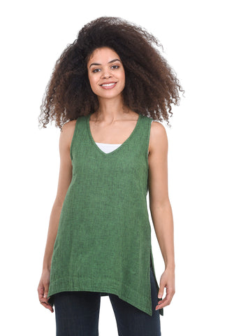 Cut Loose Crosshatch Flowy Tank, Stem Green