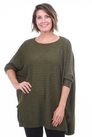 Cut Loose Texture Stripe O/S Pullover, Gris One Size Gris