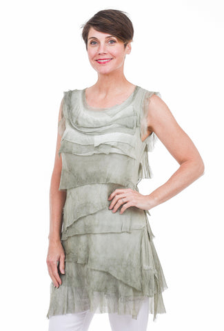 Oro Bonito Tattered Tiers Short Dress, Olive One Size Olive