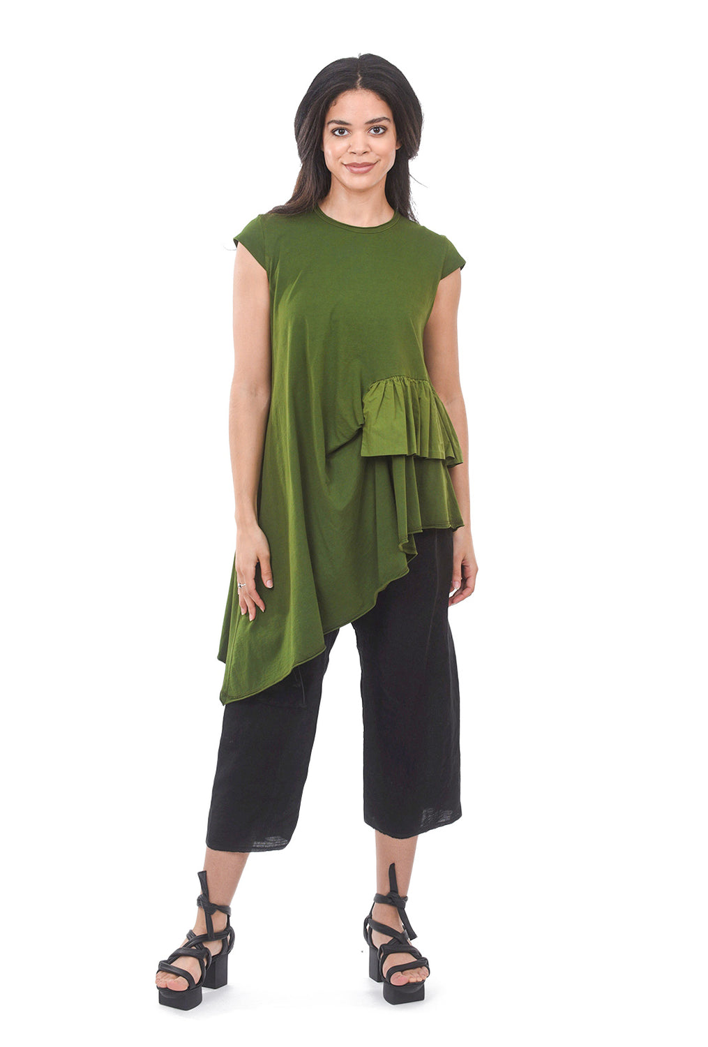 Amma Side Ruffle Asymmetric Tee, Green