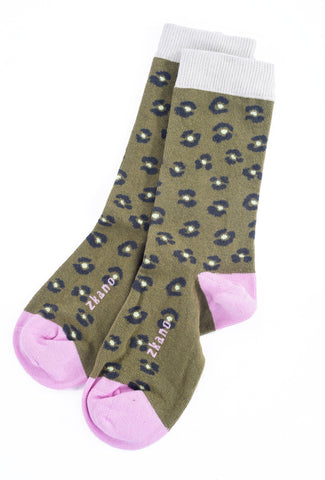 Little River Sock Mill Chloe Leopard Crew Sock, Moss