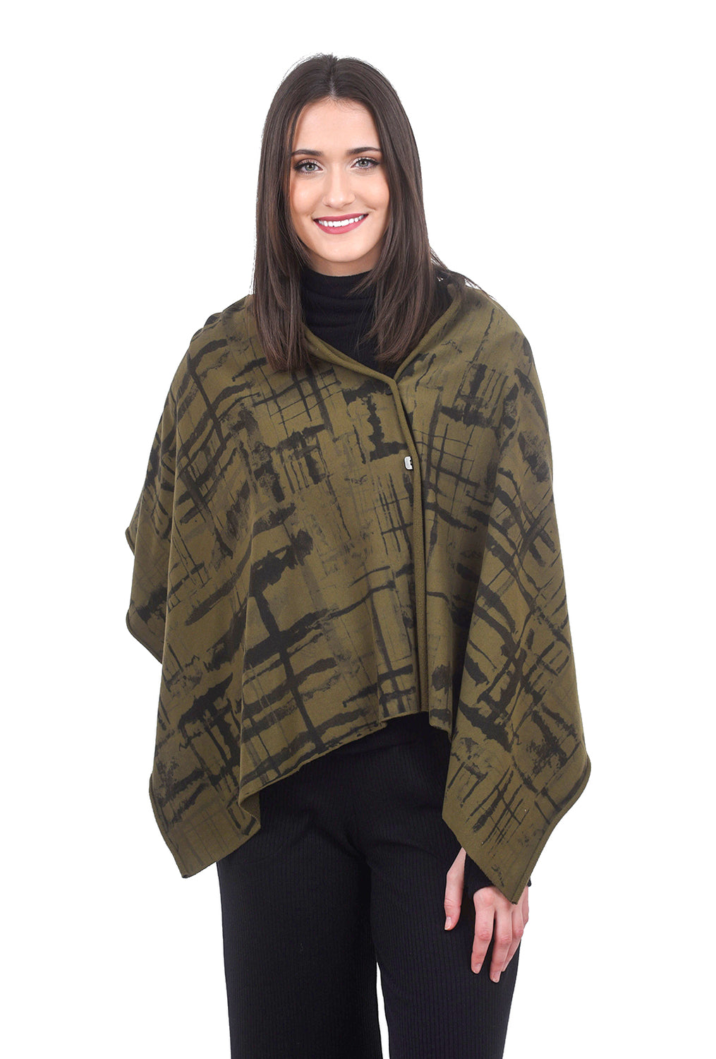 Fenini Printed FT Shawl, Olive One Size Olive