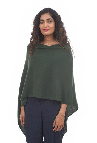 In Cashmere Cashmere Ruana, Winter Moss One Size Moss