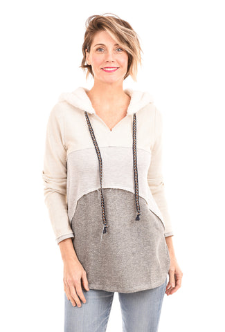 Hem & Thread Colorblock FT Hoodie, Heather Gray