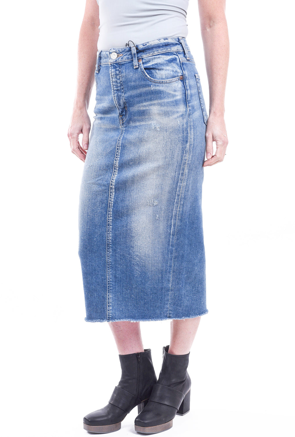Moussy Denim Comfort Norma Long Denim Skirt, Blue