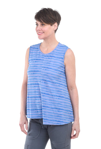 Cut Loose Brushstroke Stripe Tank, French Lavender