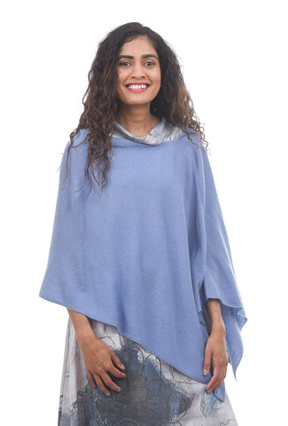 In Cashmere Cashmere Ruana, Steel Blue One Size Blue