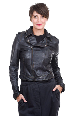 Jackett Josey Vegetable-Dyed Leather Jacket, Midnight