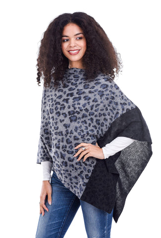 In Cashmere Animal Combo Ruana, Gray Combo One Size Gray