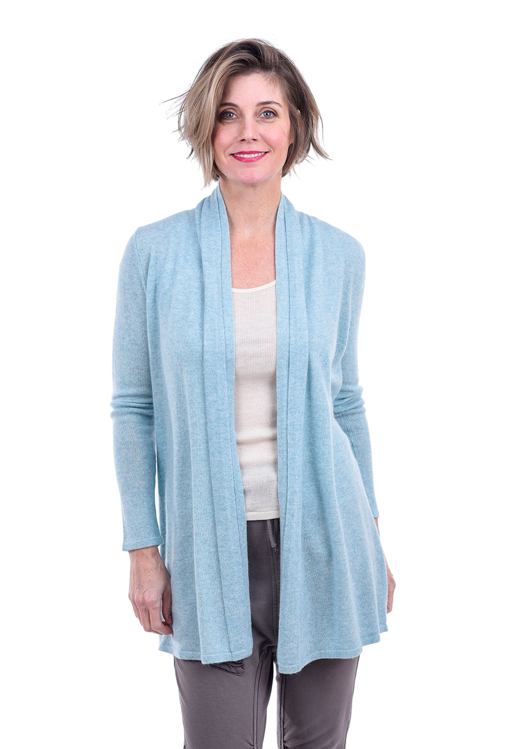 Kinross Cashmere Double-Trim Cardigan, Aquamarine