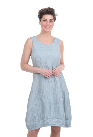 Grizas Silk-Linen Crinkle Dress, Breeze Blue