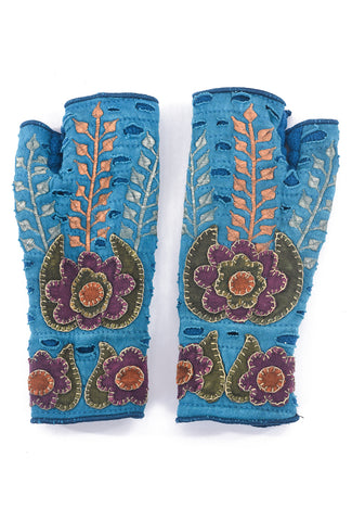 Rising Tide Harvest Fingerless Gloves, Teal One Size Teal