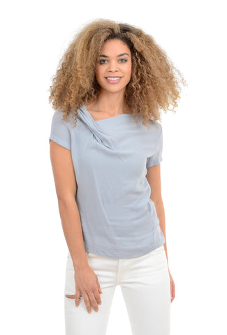 Veronique Miljkovitch Paloma Crepe Top, Pale Blue
