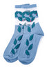 Ji-U Ji-U Mesh Inset Socks, Blue Posy One Size Blue