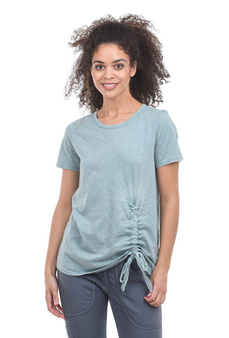Sinuous Side-Scrunch Crew Tee, Sage