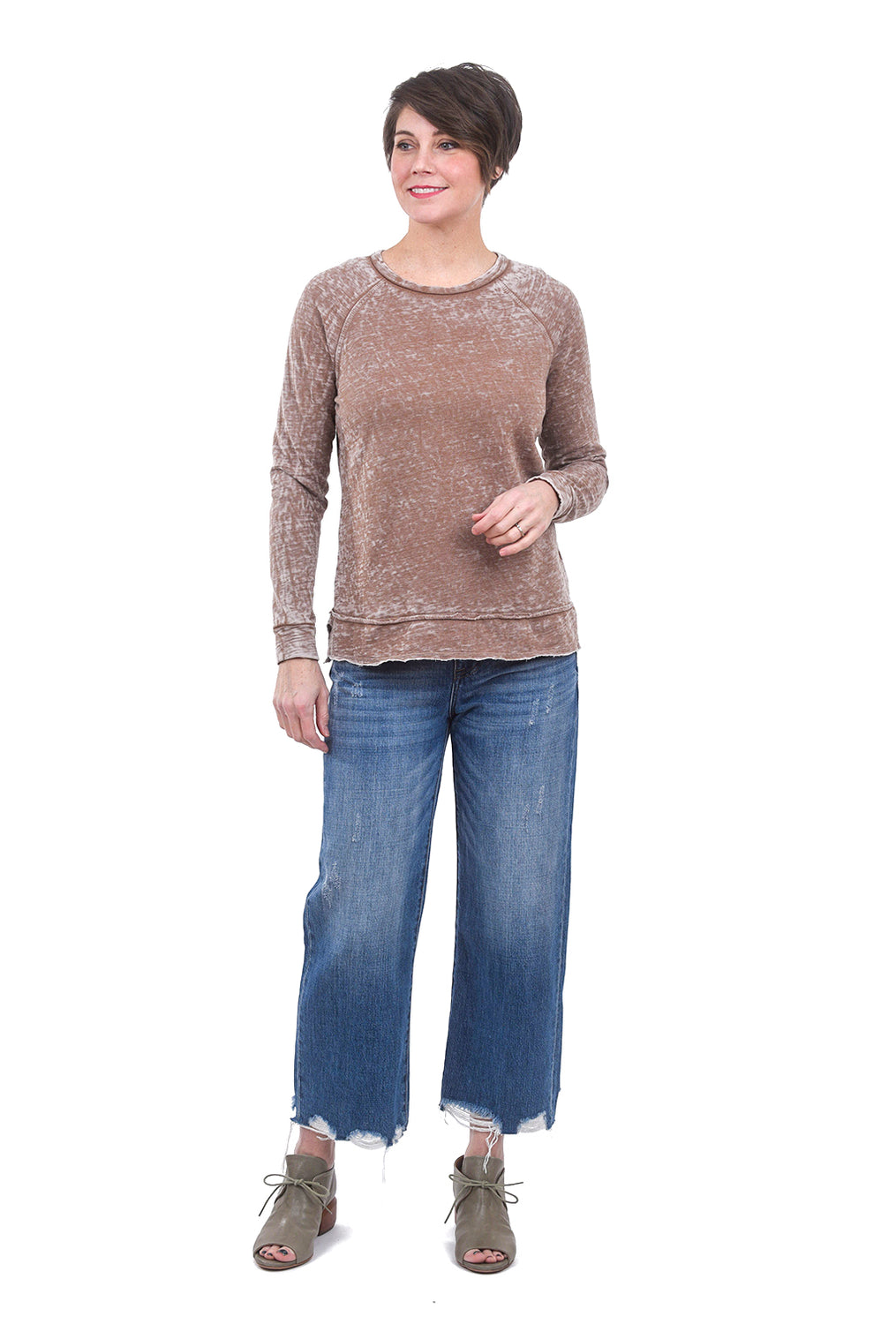 T Party Burnout Raw-Edge Sweatshirt, Mocha