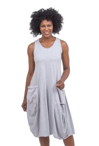 Oro Bonito Two-Pocket Easy Tank Dress, Silver