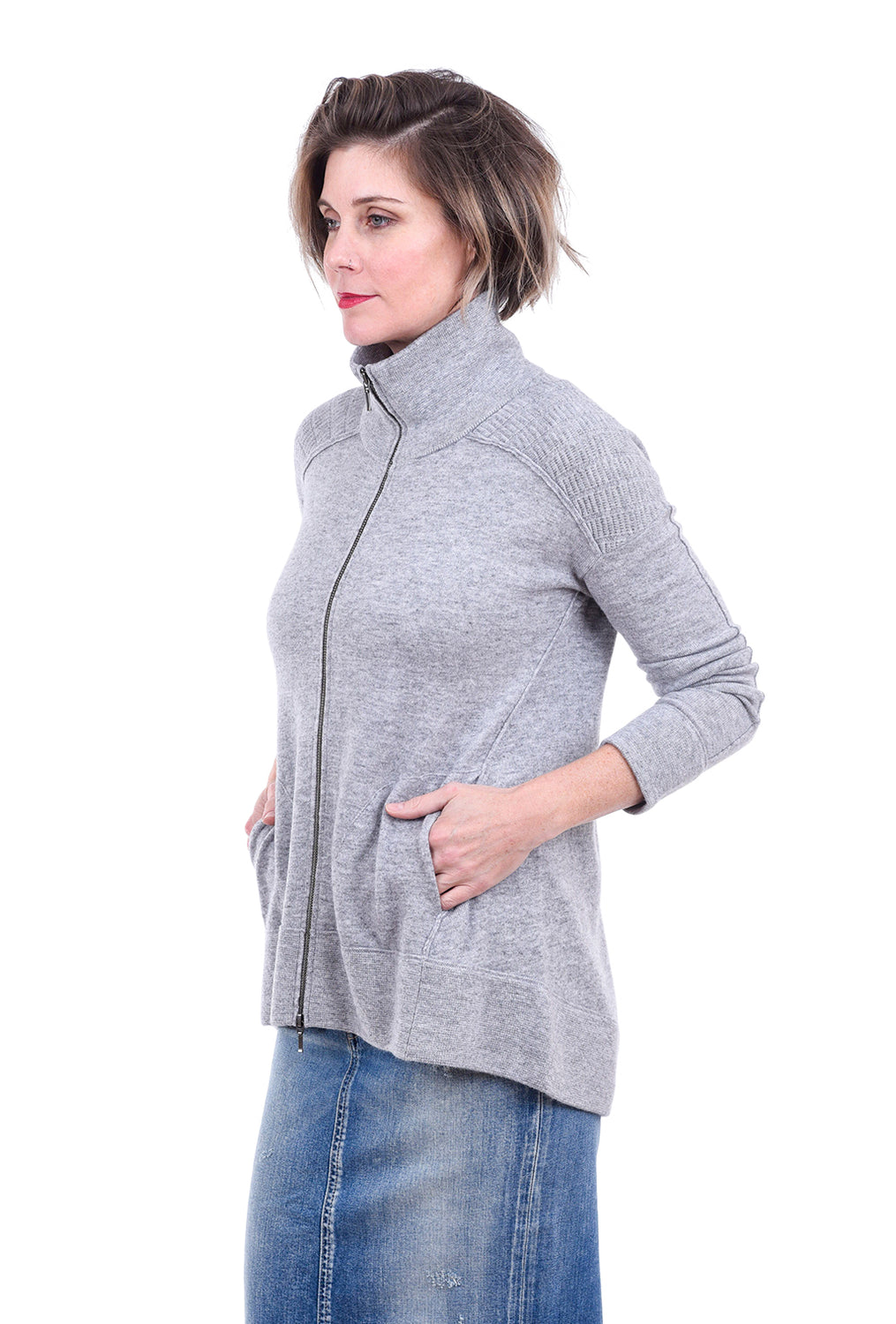 Kinross Cashmere Sporty Zip Cardigan, Sterling Gray