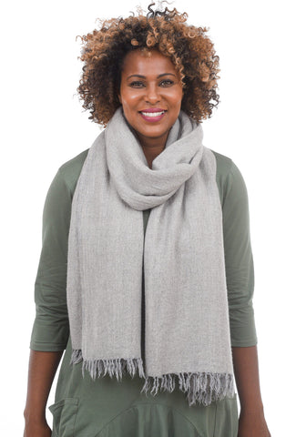 Grisal Grisal Afghan Cashmere Scarf, Light Gris