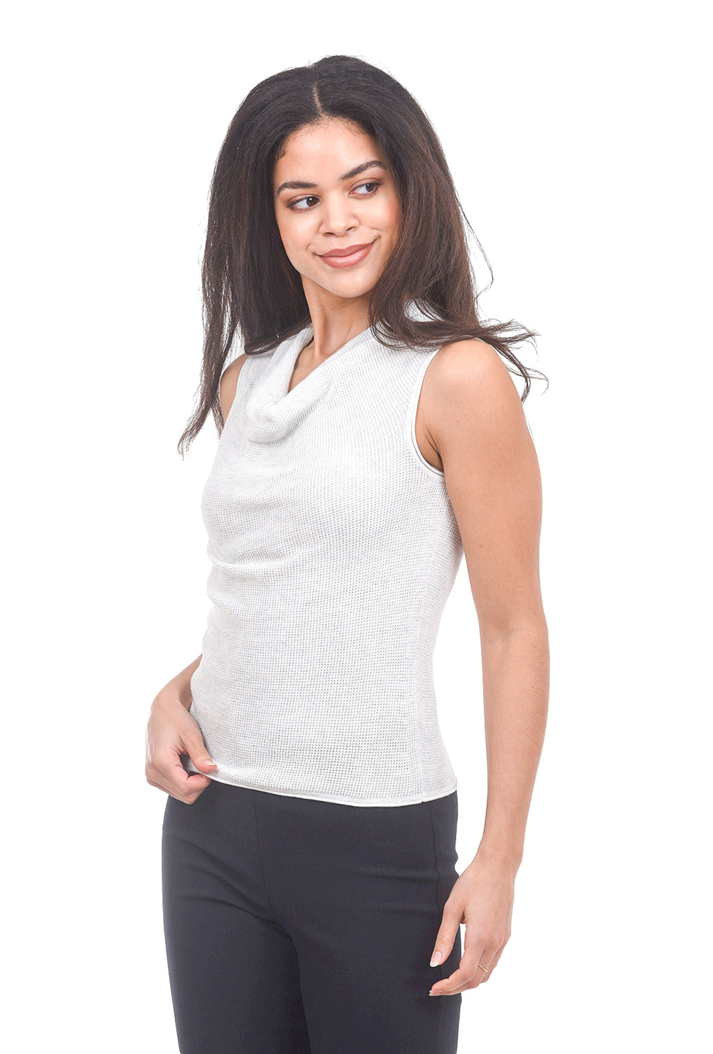 Margaret O'Leary Knits Thermal Cowl Tank, Salt White