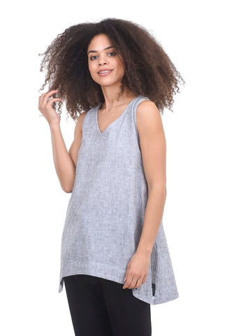 Cut Loose Crosshatch Flowy Tank, Laundered White