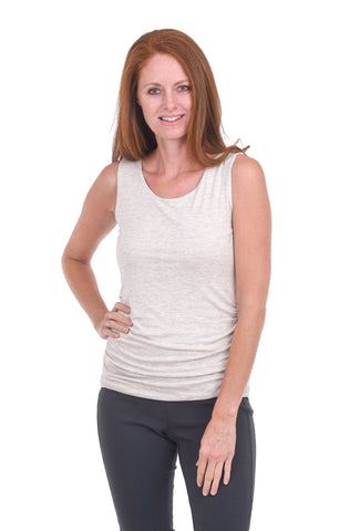 Kinross Cashmere Jersey Ruched Tank, Fawn