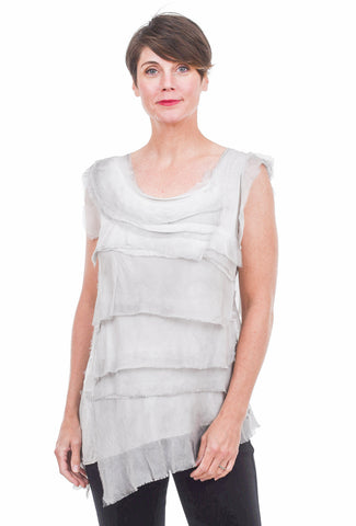 Tattered Silk Tiers Top, Silver