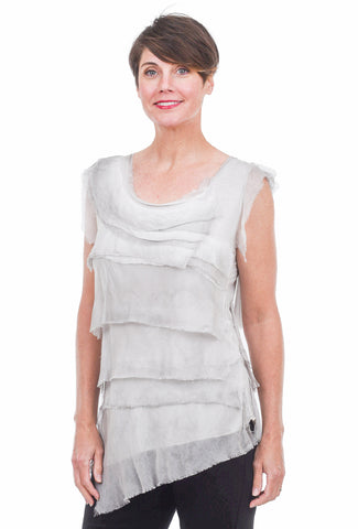 Oro Bonito Tattered Silk Tiers Top, Silver One Size Silver