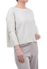 Planet Metallic Open-Back Sweater, Cream/Silver One Size Silver