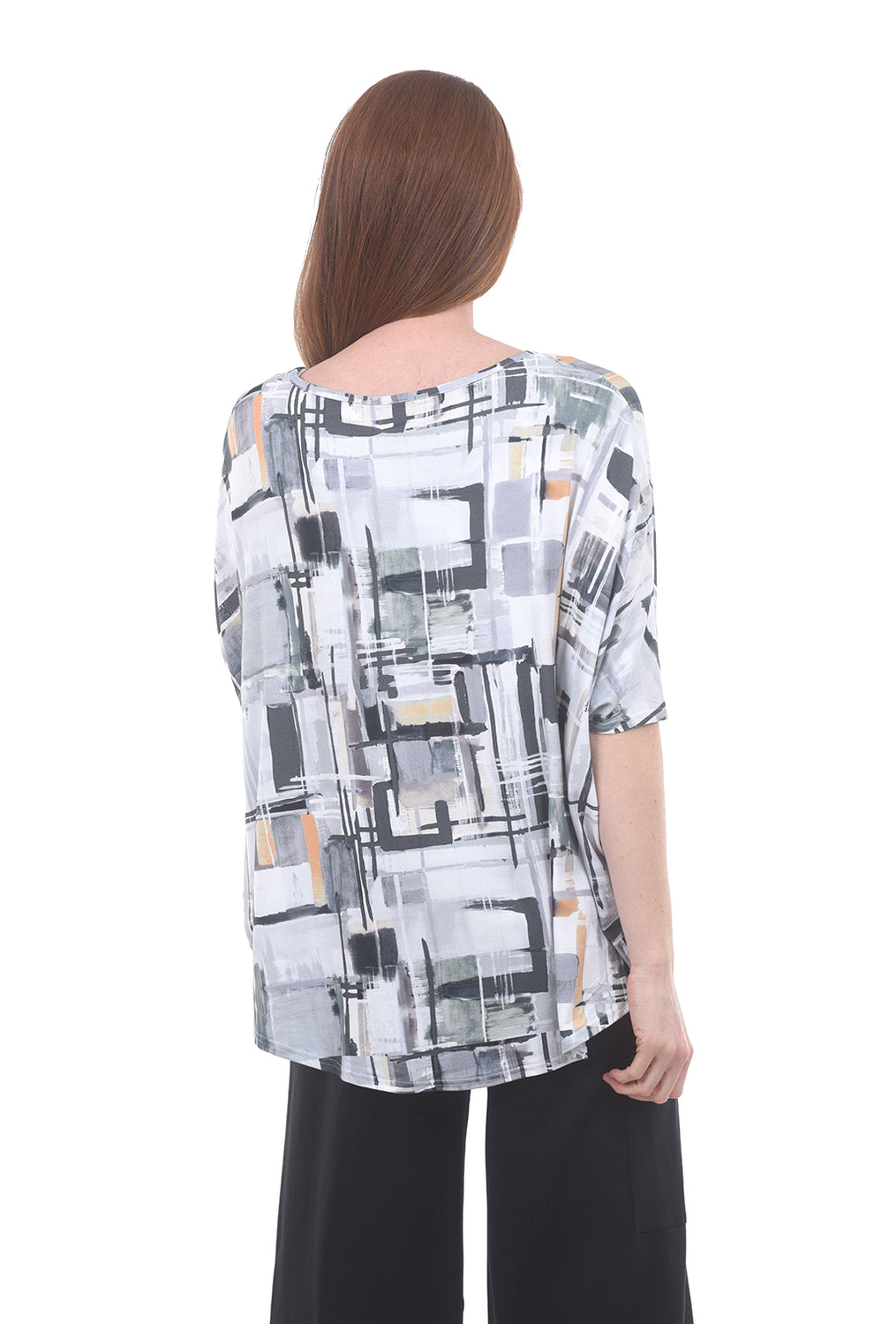 My Soul Batwing Abstract Print Top, Creamsicle