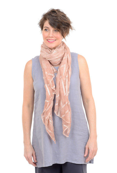 Paisley Road Lurex Accents Scarf, Pink Zig Zag