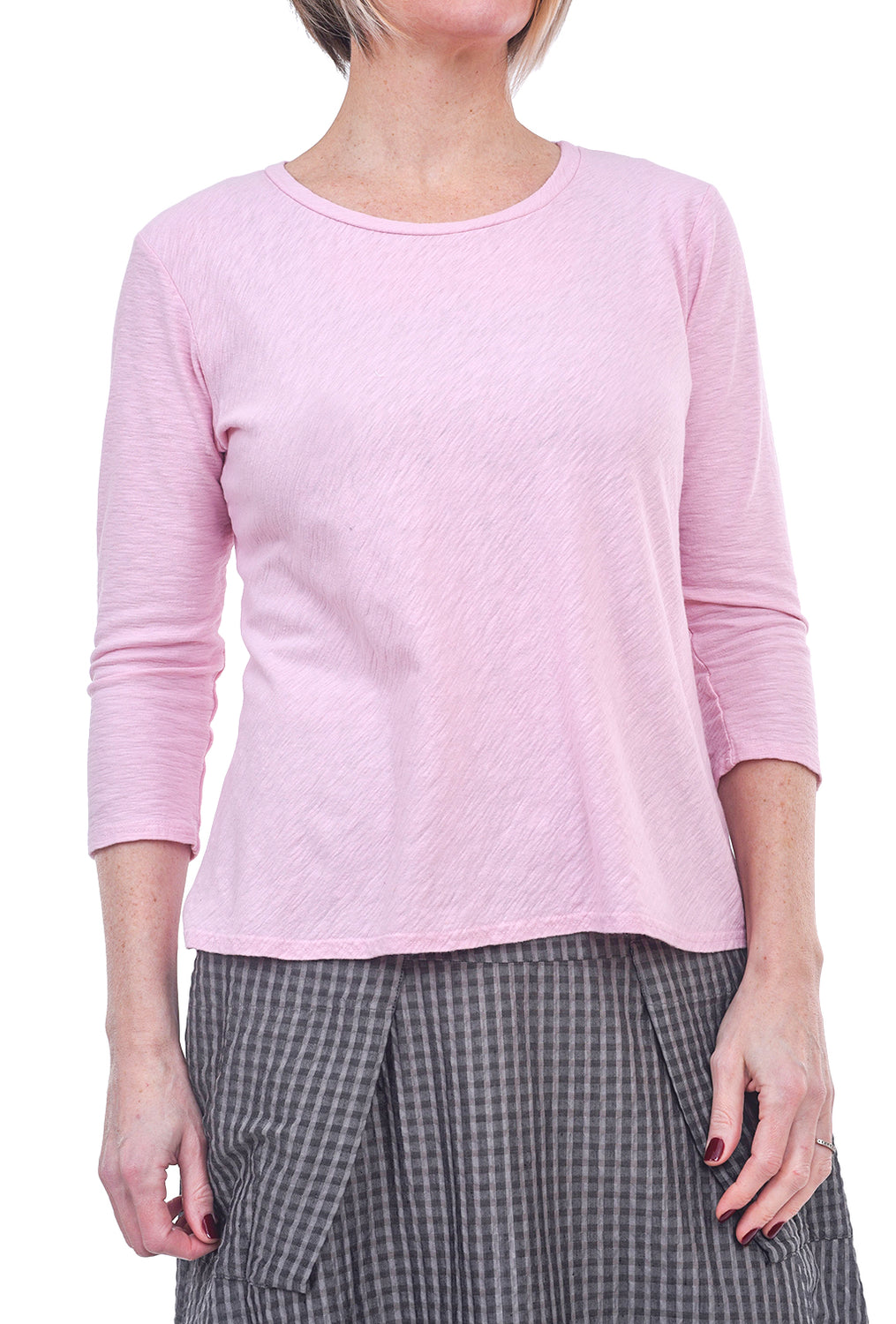 Cut Loose 3/4-Sleeve Bias Tee, Rosalie Pink