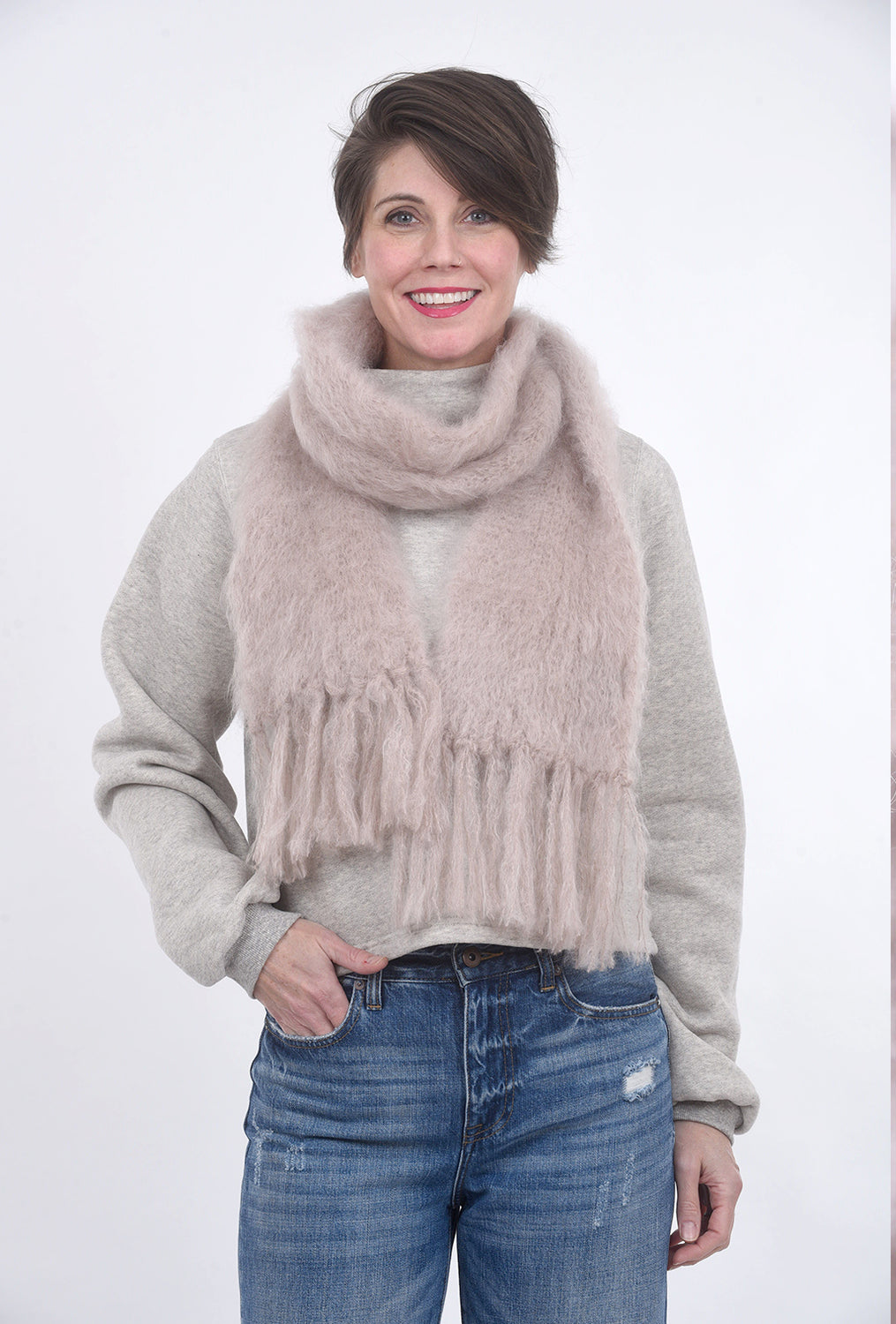 Babymoh! Mohair Cuddle Scarf, Dove Pink