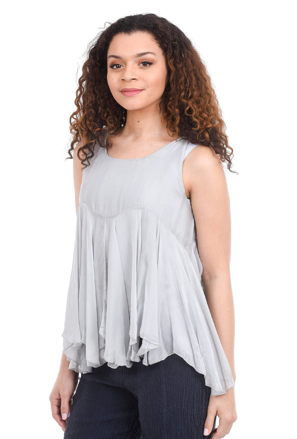 Tempo Paris Sleeveless Gusseted Top, Silver
