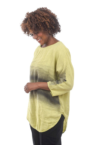 Cynthia Ashby Linen Rainbow Top, Wasabi/Gray