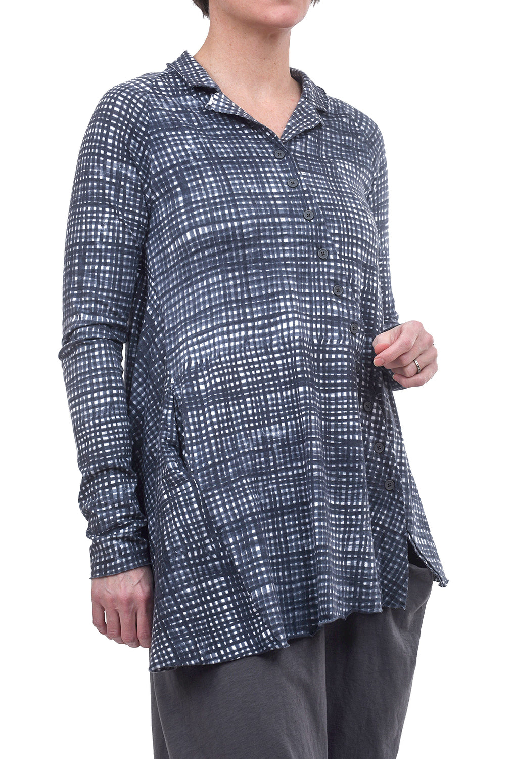 Rundholz Black Label Sketch Check Asym Jacket, Rock Gray Print