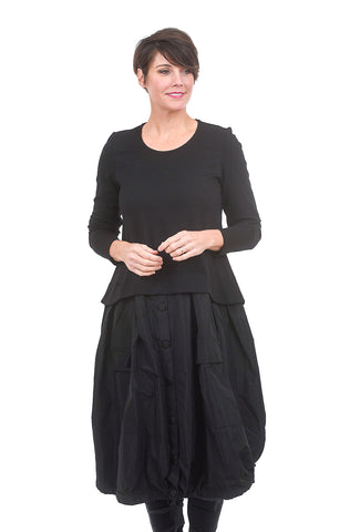Alembika Button Skirt Tech Dress, Black
