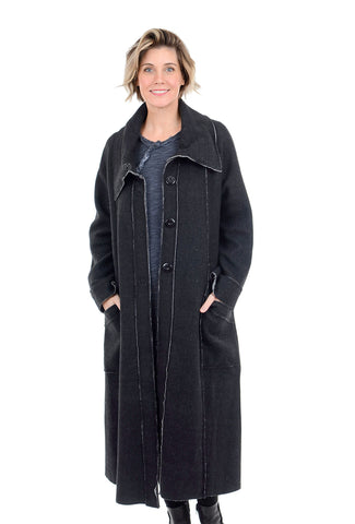 Luukaa Anita Raw Edge Fleece Coat, Black