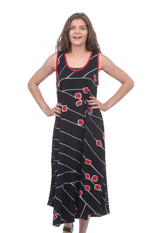 Iguana Iguana Swing Tank Dress, Black/Red