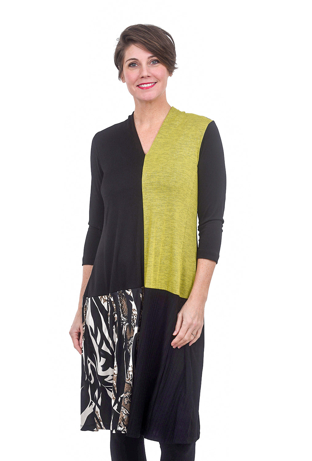 Alembika Savannah Colorblock Dress, Lime/Black